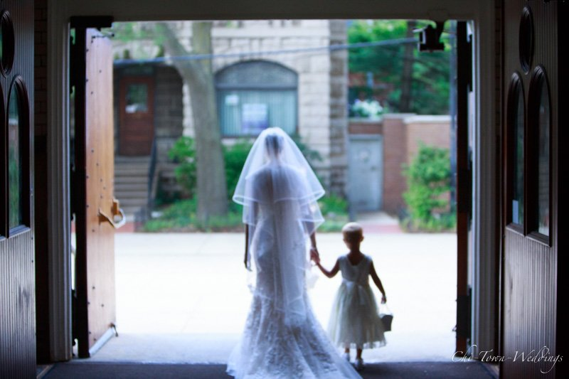 Candid of Bride and Flower girl
