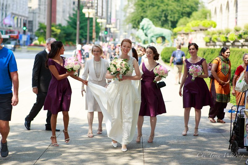 Bridesmaids candidly caught walking to meet Groom