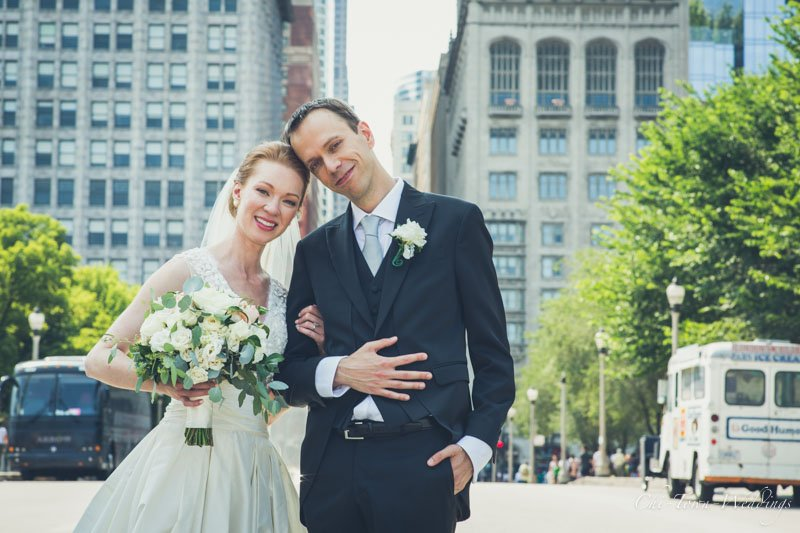Bride and Groom posing in Chicago