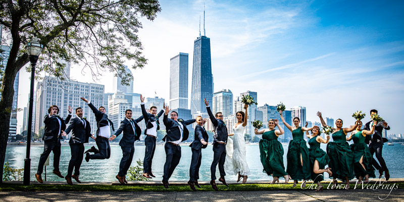 www.Chi-Town-Weddings.com Wedding Party Jump shot chicago skyline